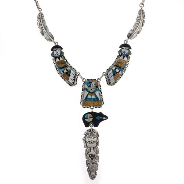 Closeup photo of Micro Inlay Goddess Bear Necklace