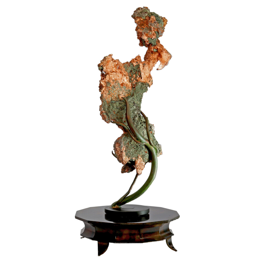 Michigan Native Copper Specimen On Custom Vine Rotating Stand