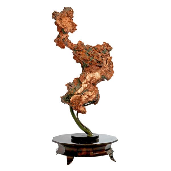 Closeup photo of Michigan Native Copper Specimen On Custom Vine Rotating Stand