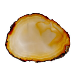"""Closeup photo of Agate Slice -Thin With Incredible Movement 7""""+ With Acrylic Stand"""