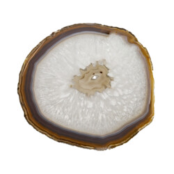 Closeup photo of Agate Slice -Thin Round With Blue Hues, Gray Fortress Center With Druze & Acrylic Stand