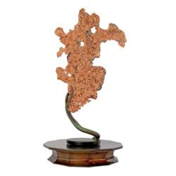 Closeup photo of Michigan Native Copper Specimen On Custom Rotating Vine Stand -Flat
