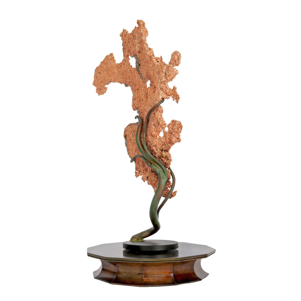 Image 2 for Michigan Native Copper Specimen On Custom Rotating Vine Stand -Flat