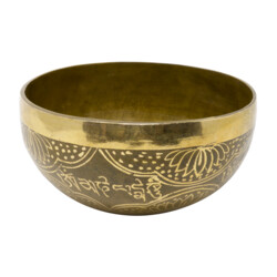 Closeup photo of Brass Singing Bowl -Fatima Hand 6""