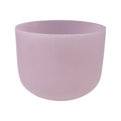 "Closeup photo of 10"" Gem Infused Quartz Singing Bowl Note F Rose Quartz A07"