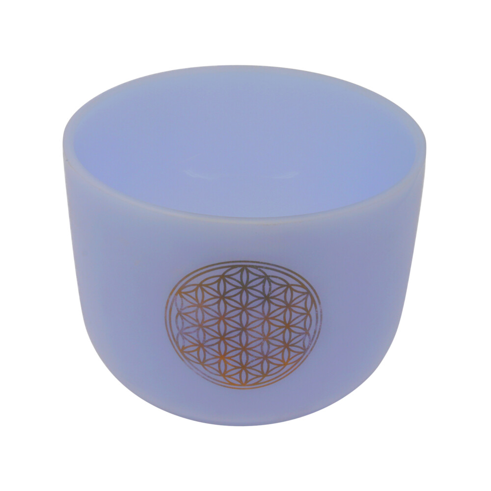 "Image 2 for 8"" Gem Infused Quartz Singing Bowl With 24k Gold Flower Of Life Note D Amethyst"