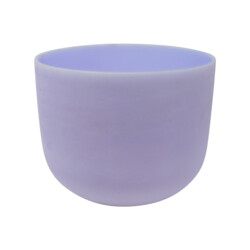 """Closeup photo of 8"""" Gem Infused Quartz Singing Bowl Note B Amethyst Frosted Finish A05"""