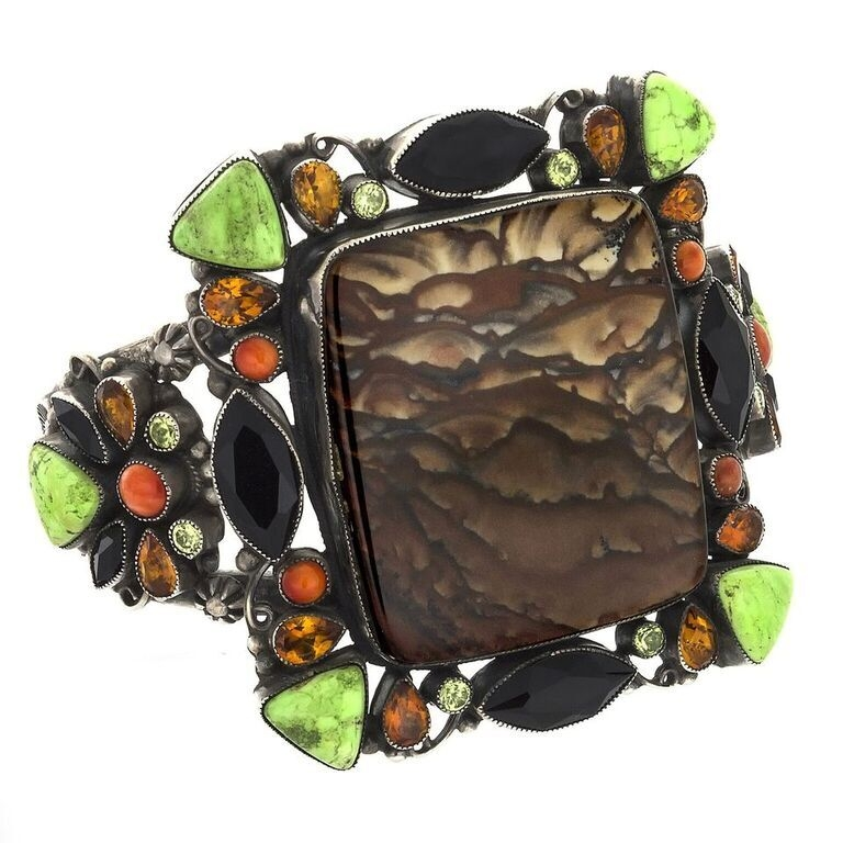 Leo Feeney Picture Jasper Cuff -Clouds With Onyx, Green Turquoise, Citrine, Peridot & Spiny Oyster