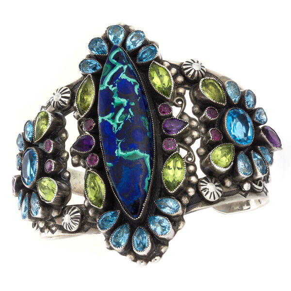 Closeup photo of Leo Feeney Azurite-Malachite Cuff With Peridot, Blue Topaz, Amethyst & Pink Tourmaline