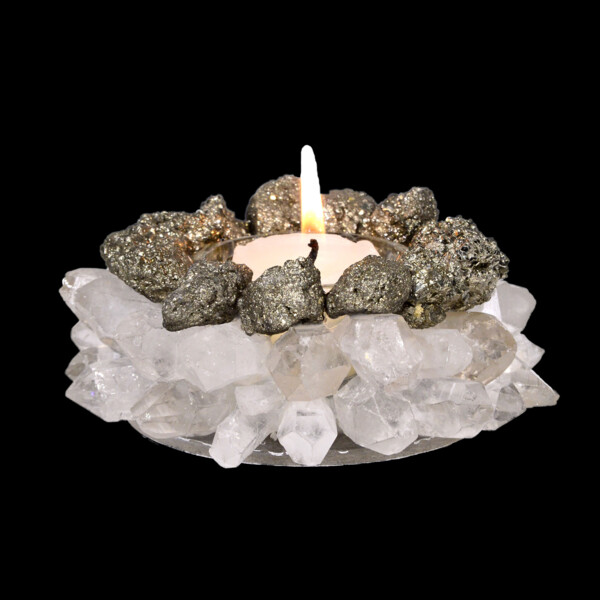Closeup photo of Pyrite & Quartz Point Candle Holder