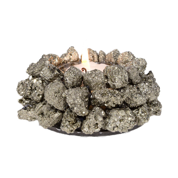 Closeup photo of Peruvian Pyrite Candle Holder