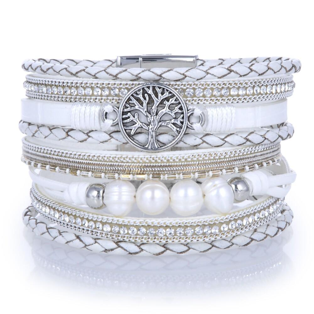 Image 2 for Tree Of Life White Multi Wrap Bracelet