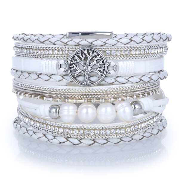 Closeup photo of Tree Of Life White Multi Wrap Bracelet