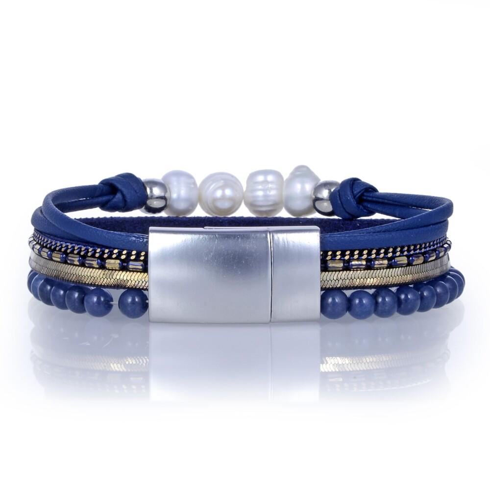 Agate Multi Wrap Bracelet - Navy