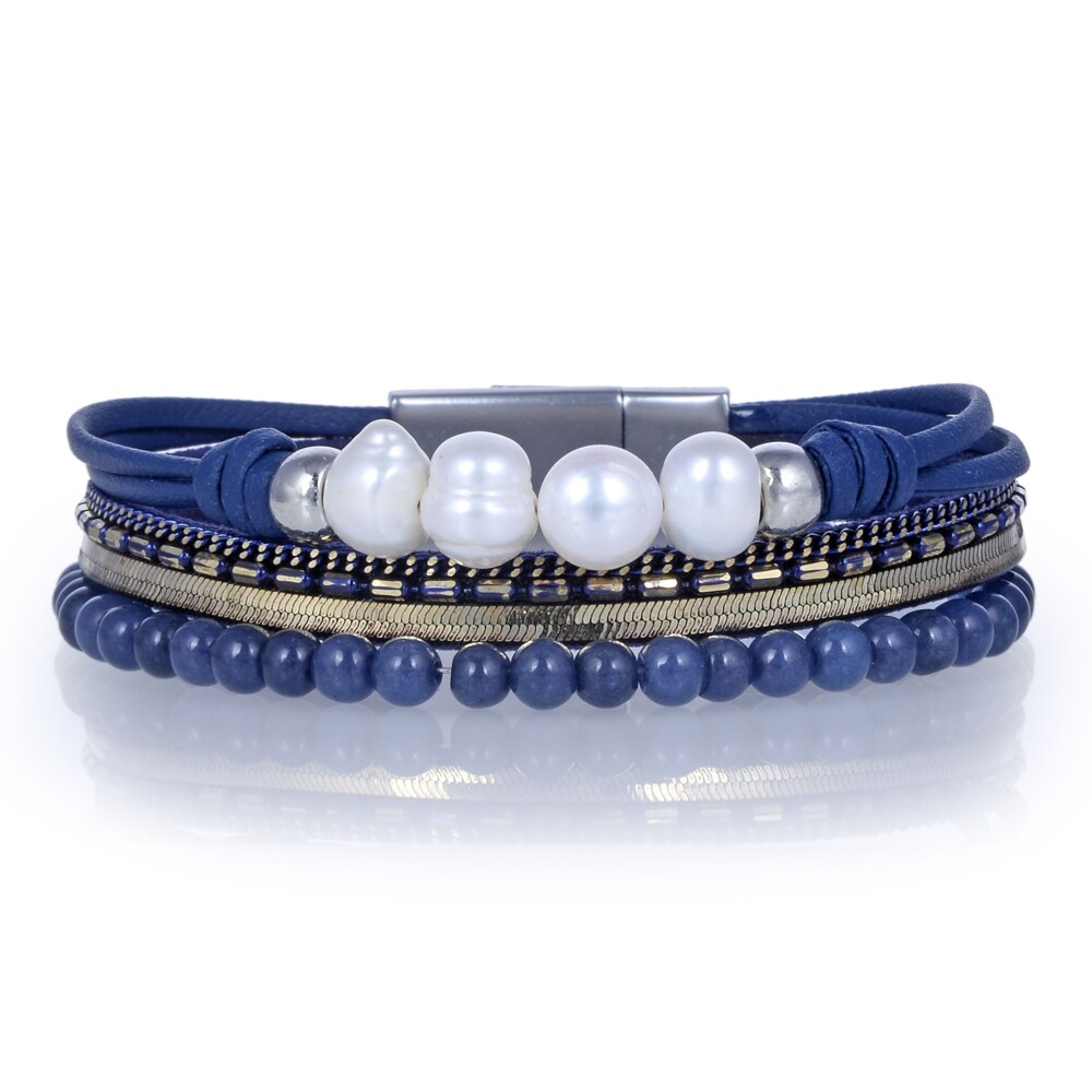 Image 2 for Agate Multi Wrap Bracelet - Navy