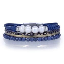 Closeup photo of Agate Multi Wrap Bracelet - Navy