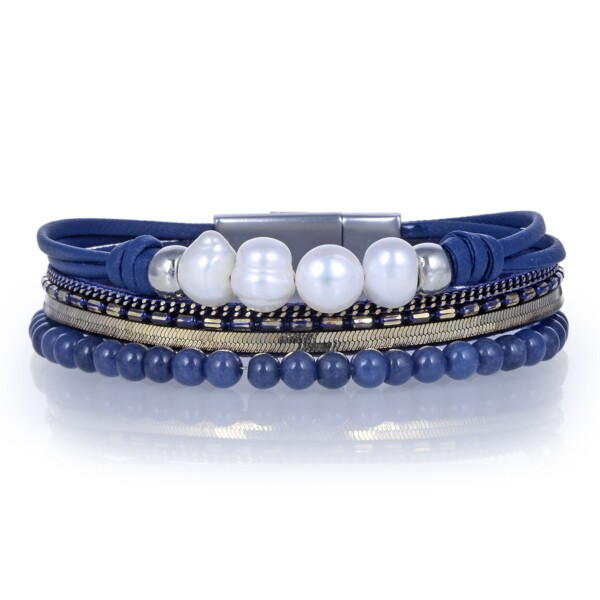 Closeup photo of Agate Multi Wrap Bracelet - Navy