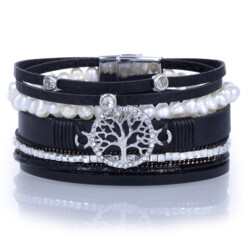 Closeup photo of Tree Of Life Black Multi Wrap Bracelet With Pearl Strand