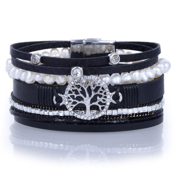 Closeup photo of Tree Of Life Black Multi Wrap Bracelet With Pearl Strand