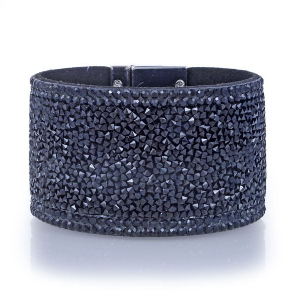 Closeup photo of Wide Crystal Wrap Bracelet -Black