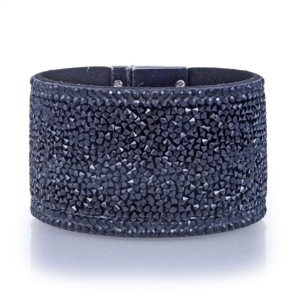 Closeup photo of Wide Crystal Wrap Bracelet -Black