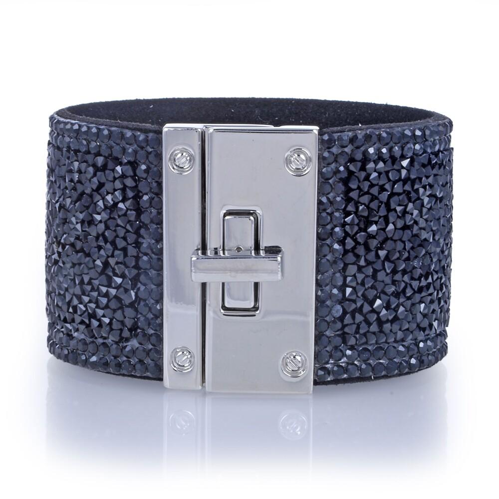 Image 2 for Wide Crystal Wrap Bracelet -Black