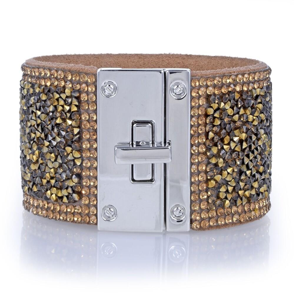 Image 2 for Wide Crystal Wrap Bracelet -Bronze
