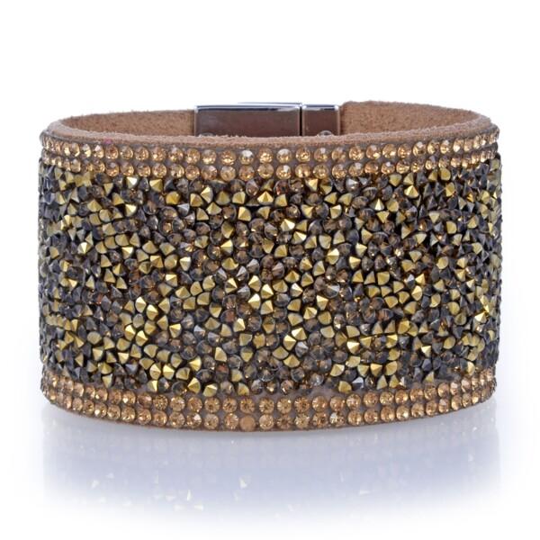 Closeup photo of Wide Crystal Wrap Bracelet -Bronze