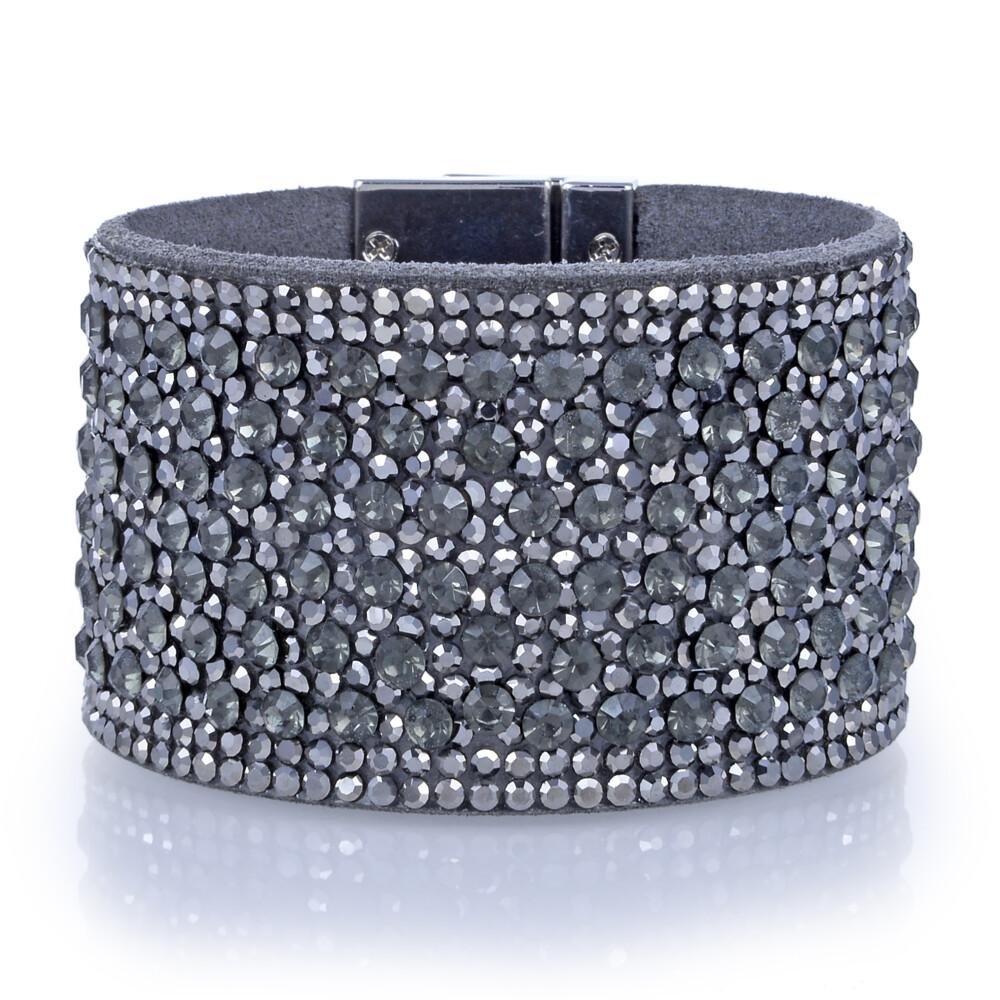 Image 2 for Wide Crystal Wrap Bracelet -Green