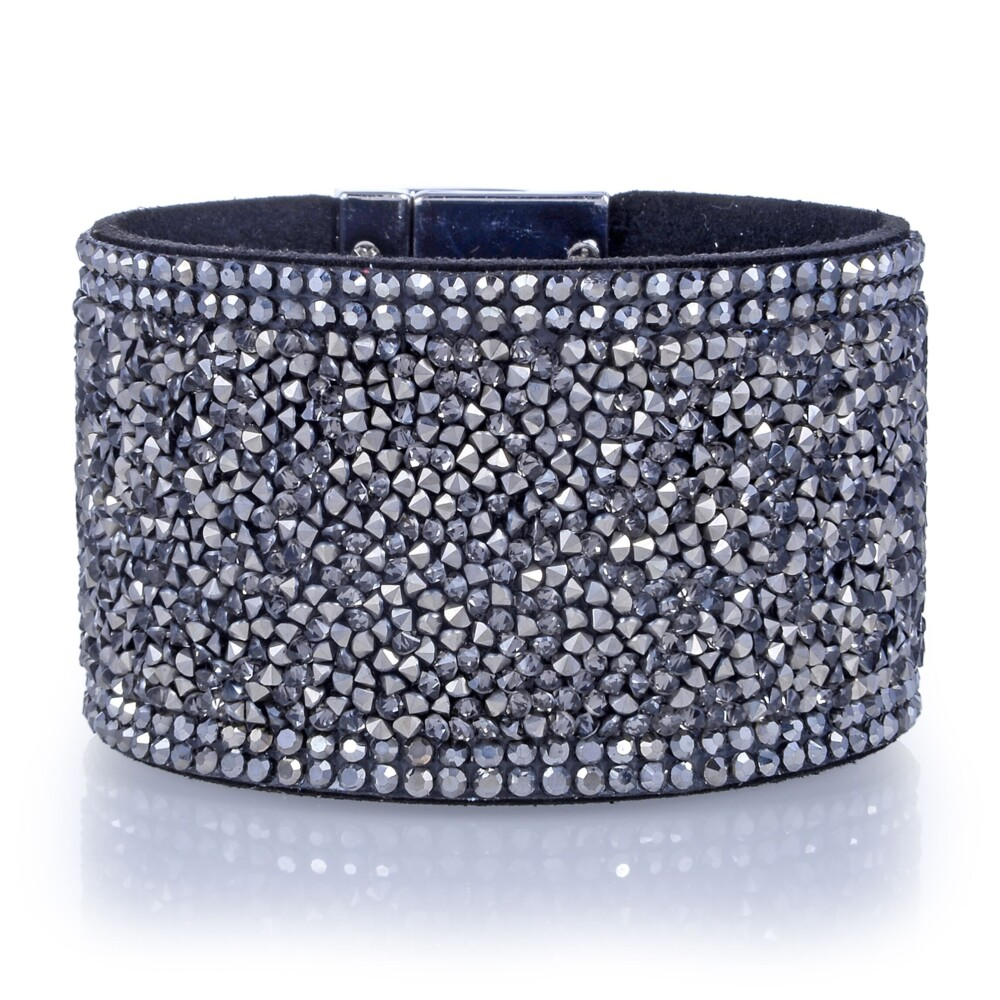 Wide Crystal Wrap Bracelet -Gun Metal