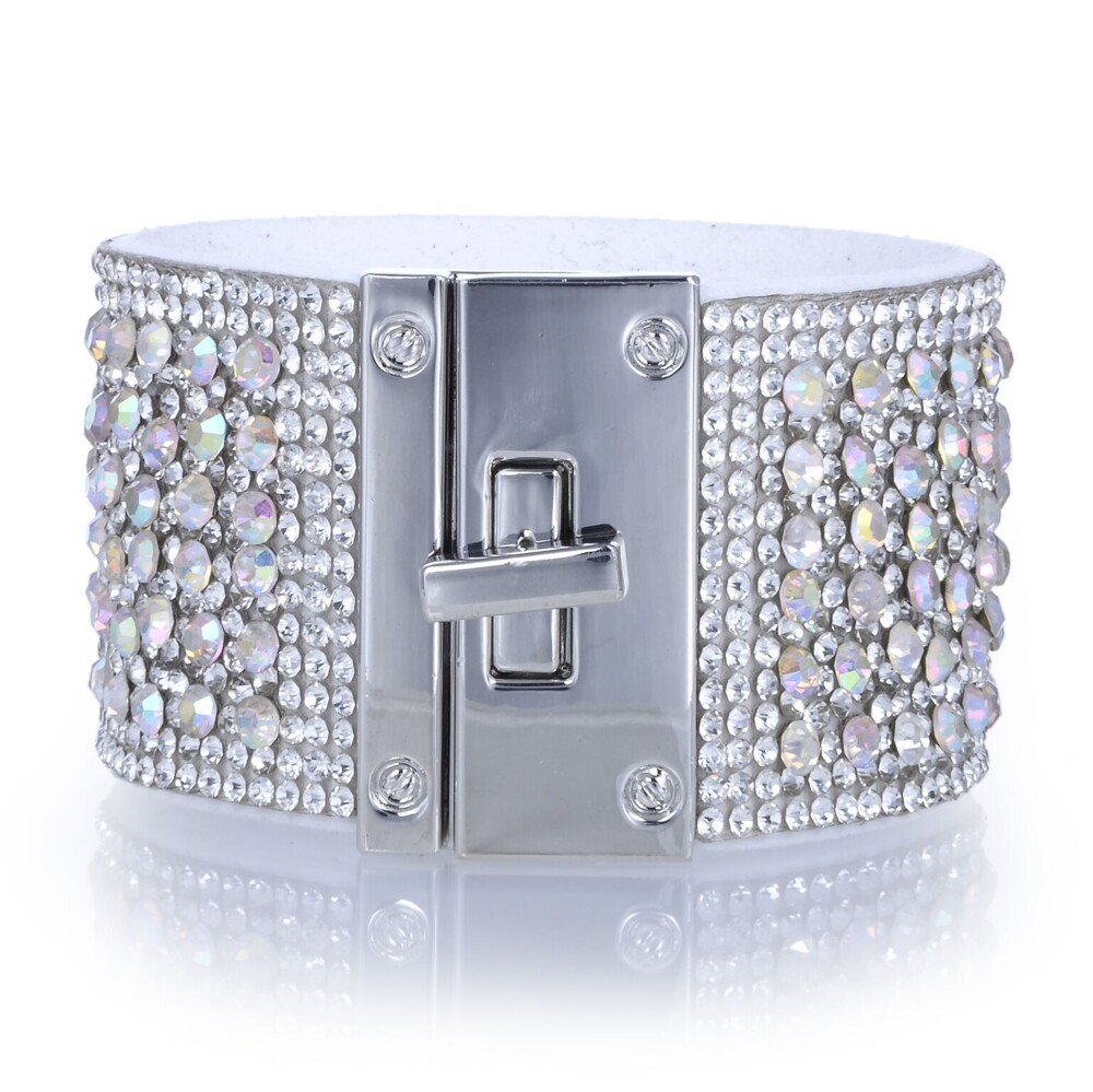 Wide Crystal Wrap Bracelet -White Iridescent