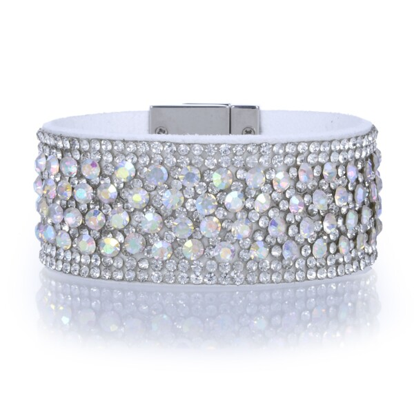 Closeup photo of Narrow Crystal Wrap Bracelet -White Iridescent