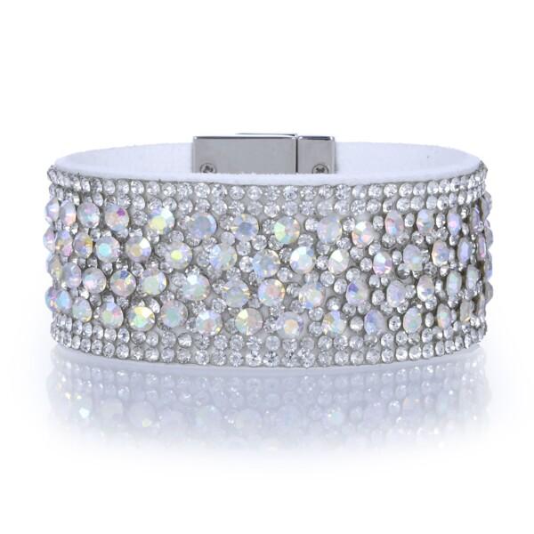 Closeup photo of Narrow Crystal Wrap Bracelet -White Iridescent