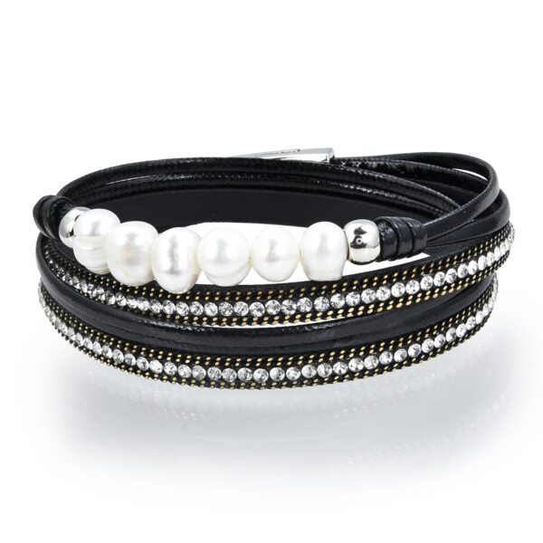 Closeup photo of Double Wrap Pearl Bracelet - Black