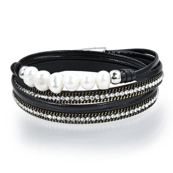 Closeup photo of Double Wrap Pearl Bracelet - Black