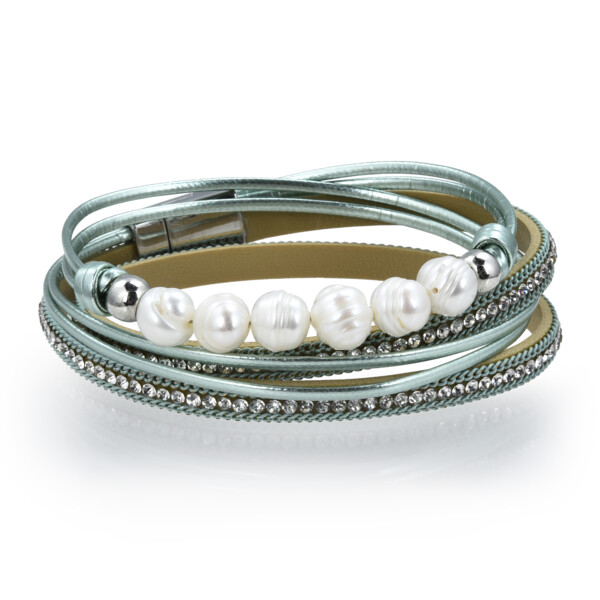 Closeup photo of Double Wrap Pearl Bracelet - Teal