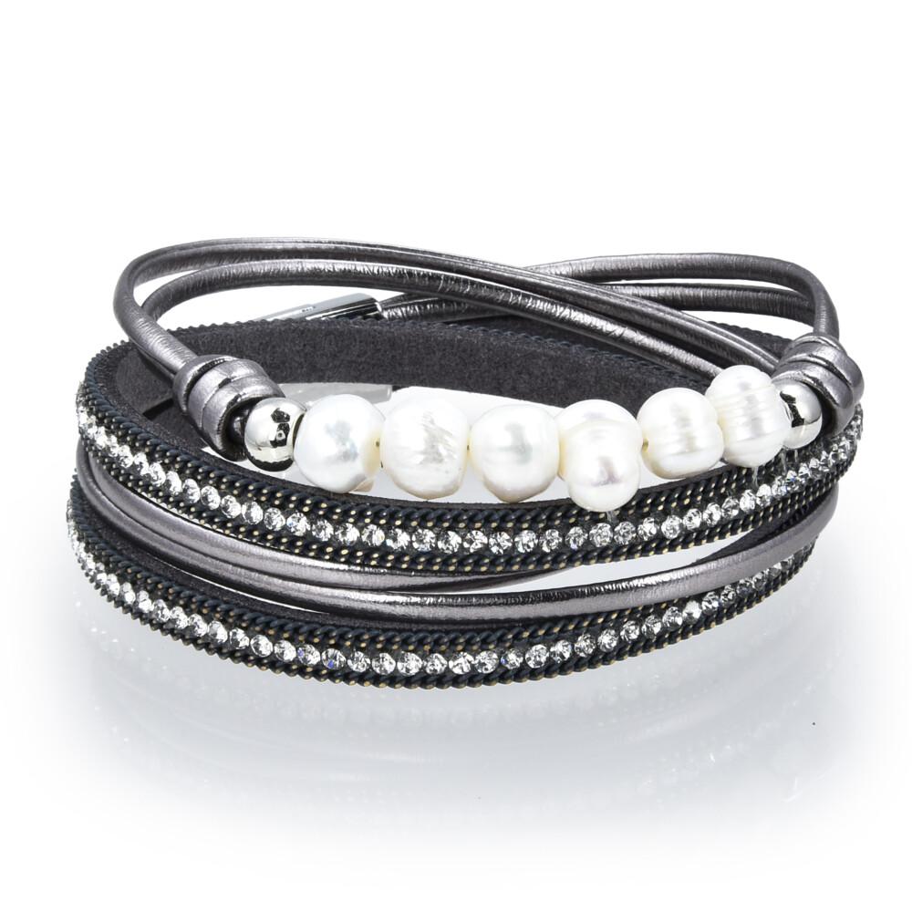 Double Wrap Pearl Bracelet - Gray