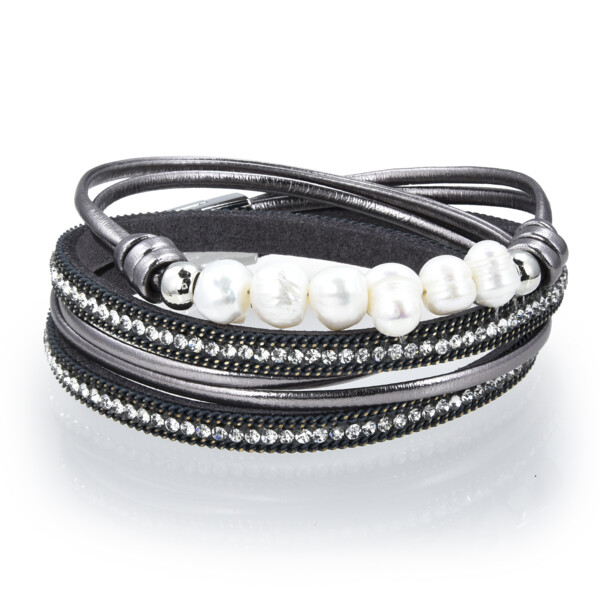 Closeup photo of Double Wrap Pearl Bracelet - Gray