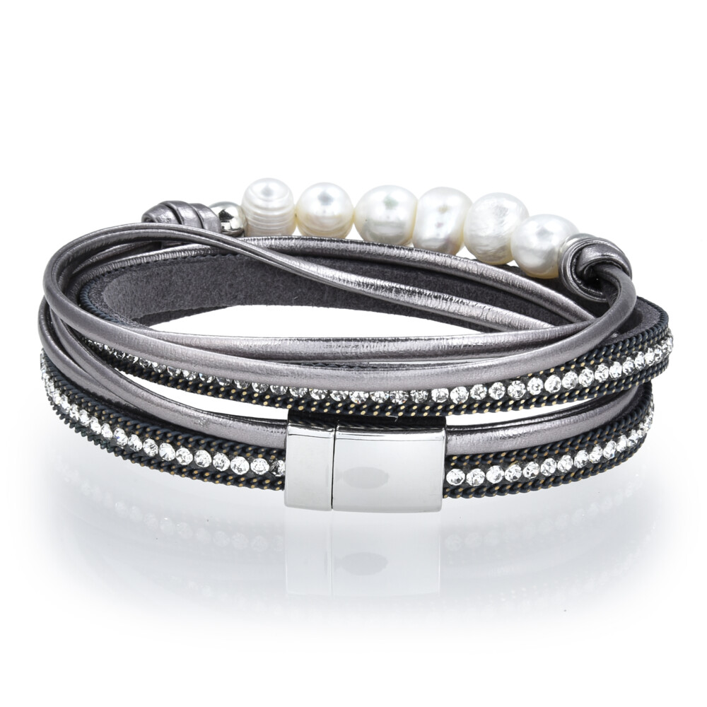 Image 2 for Double Wrap Pearl Bracelet - Gray