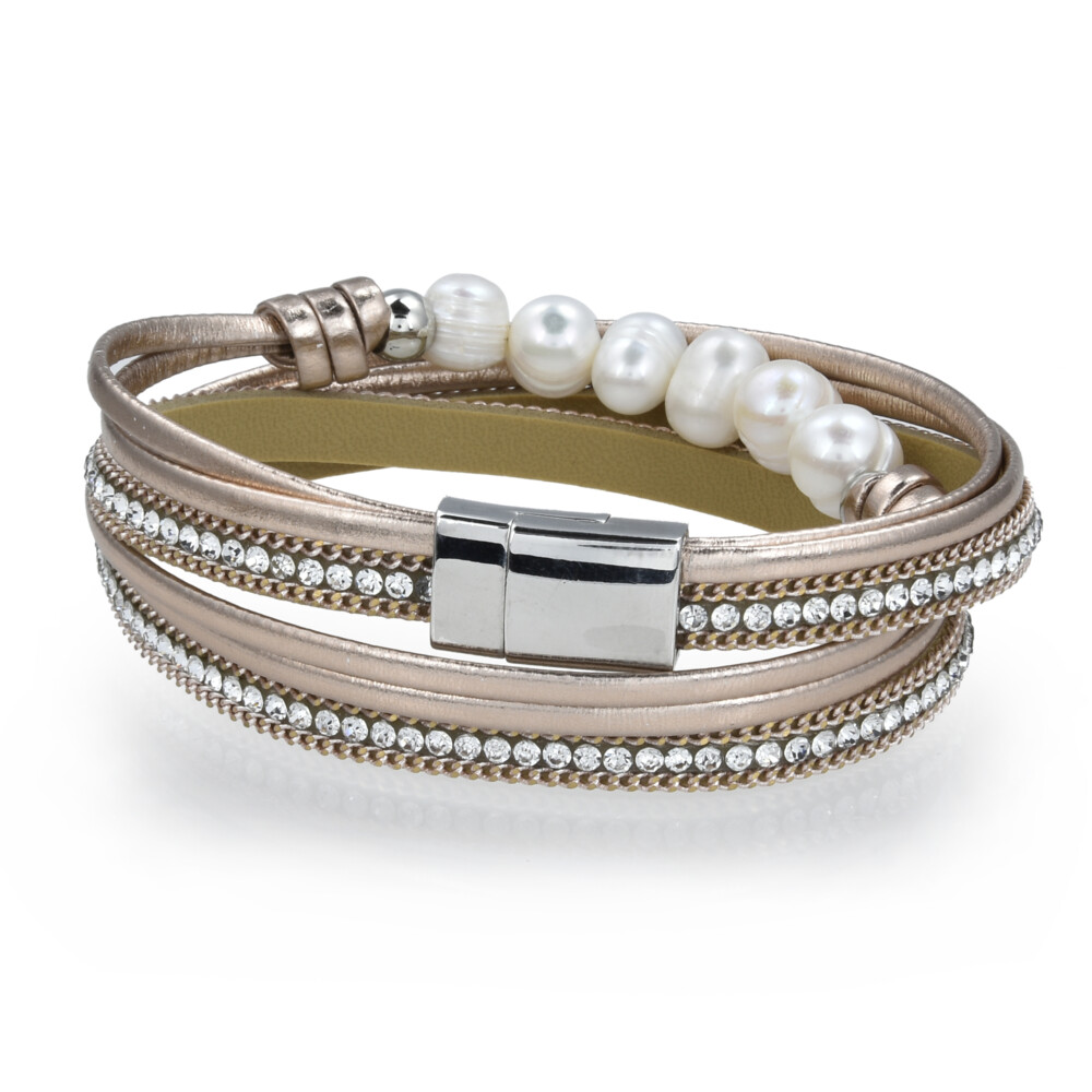 Double Wrap Pearl Bracelet - Rose Gold