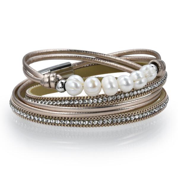 Closeup photo of Double Wrap Pearl Bracelet - Rose Gold