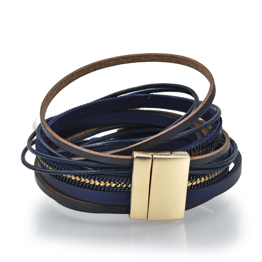 Image 2 for Double Wrap Druze Bracelet - Navy
