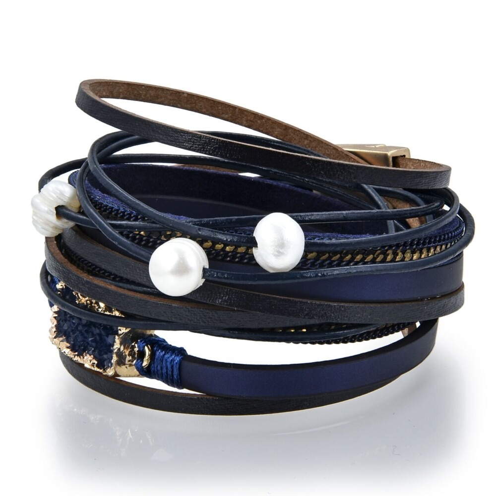 Double Wrap Druze Bracelet - Navy