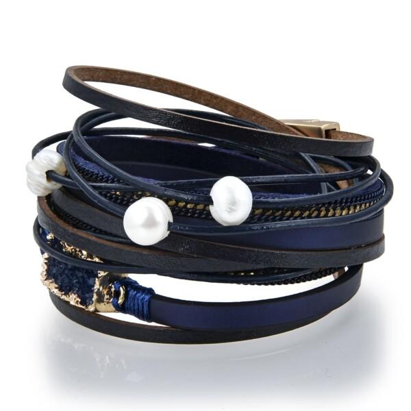 Closeup photo of Double Wrap Druze Bracelet - Navy