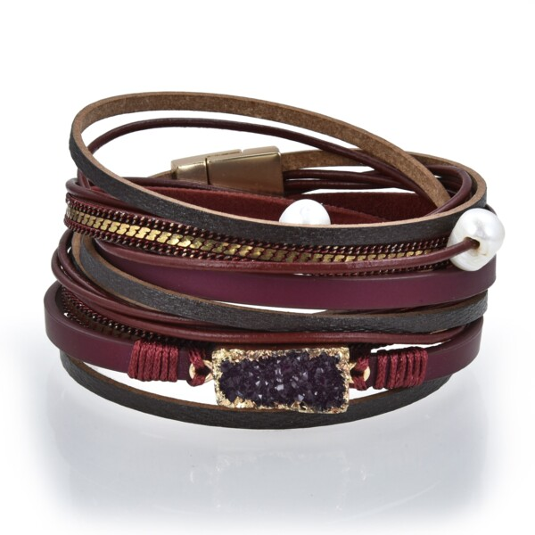 Closeup photo of Double Wrap Druze Bracelet - Red