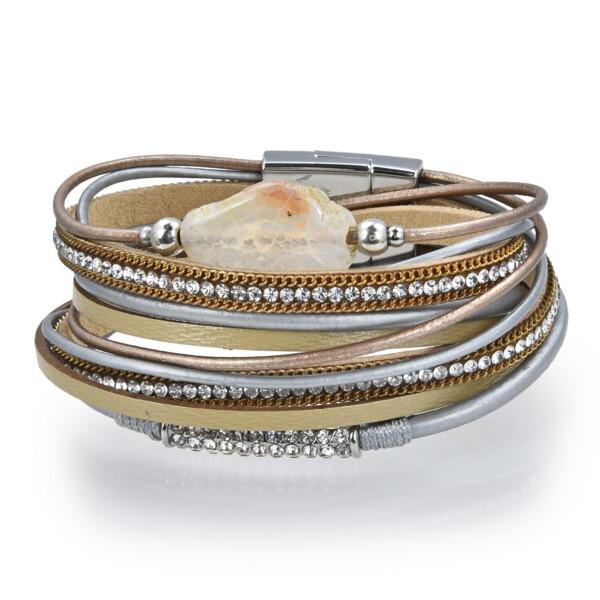 Closeup photo of Carnelian Agate Coin Multi Wrap Bracelet