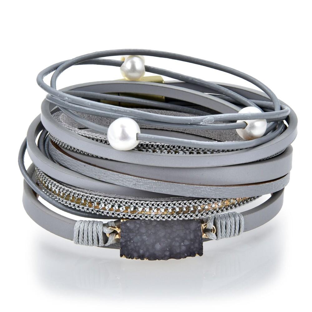 Charcoal Druze Multi Wrap Bracelet Double