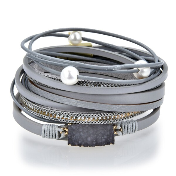 Closeup photo of Charcoal Druze Multi Wrap Bracelet Double