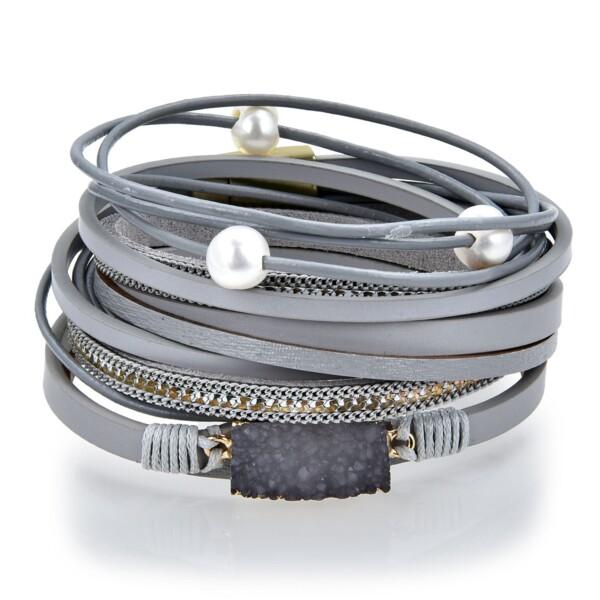 Closeup photo of Charcoal Druze Multi Wrap Bracelet Double