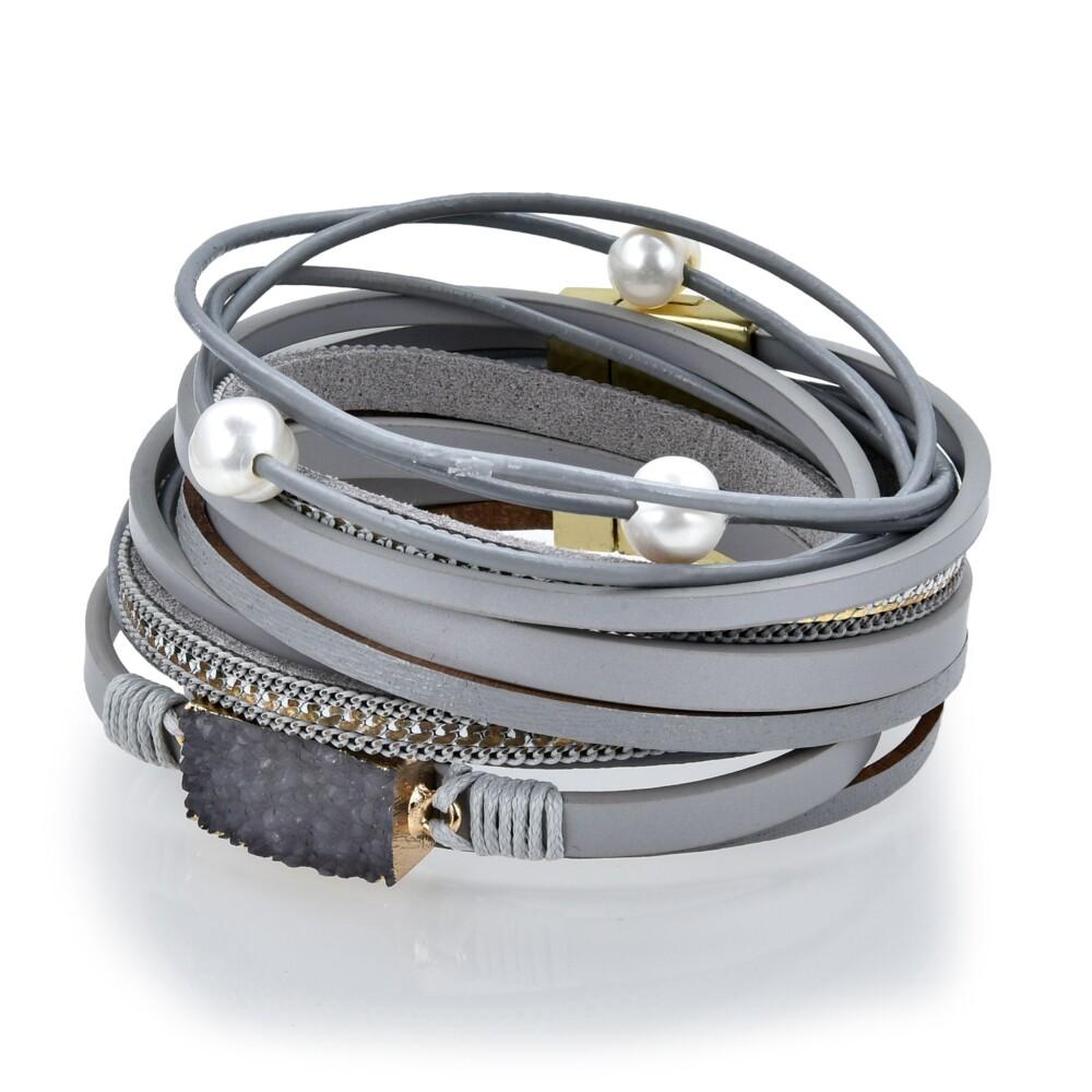 Image 2 for Charcoal Druze Multi Wrap Bracelet Double